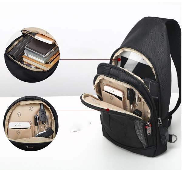 Multiple compartments sling bag