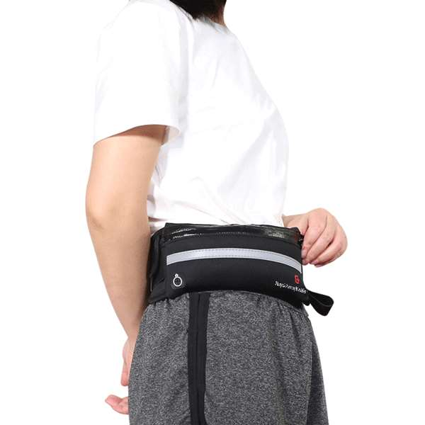 small black fanny pack on the side